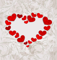 Floral background with crumpled paper hearts for vector image