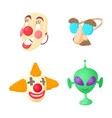 clown mask icon set cartoon style vector image