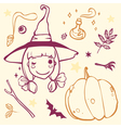 cute witch with Halloween stuff pumpkin bat potion vector image