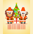 Happy new year card with funny animal vector image