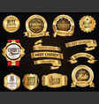 retro golden ribbons and labels collection vector image