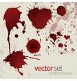 Splattered blood stains set 5 vector image