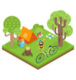 tent camp travel isometric 3d icon forest wood vector image
