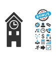 Clock Tower Flat Icon with Bonus vector image