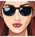 portrait girl sunglasses red haired lipstick vector image