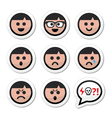 Man boy faces avatar icons set vector image