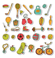 Healthy lifestyle sticker set Sport icons Hand vector image