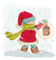 Cute child walking in snowfall with a lantern vector image
