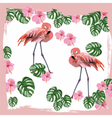 Flamingo birds and palm leaves card vector image