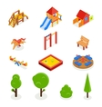 Kids isometric 3D playground icon set vector image