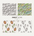 set of seamless doodle floral and leaves patterns vector image