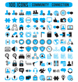 100 icons - community connection vector image