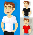 Business man shows a T shirt for print your logo vector image vector image