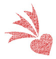 falling heart fabric textured icon vector image