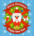Christmas and new year background card with santa vector image