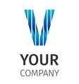 Abstract blue logo V vector image