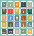 Ice cream line flat icons on green background vector image
