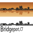 Bridgeport skyline in orange vector image vector image