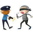 Policeman with gun and robber with knife vector image