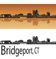 Bridgeport skyline in orange vector image