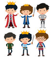 six characters of prince and knight vector image