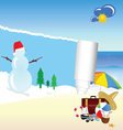 snowman and beach stuff vector image