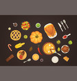 thanksgiving dish menu top view table with roasted vector image