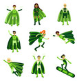 young people in green eco superheroes costumes set vector image