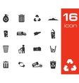 black garbage icons set on white background vector image