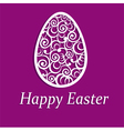 Elegant Easter egg on purple background vector image
