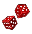Red Dice Cubes on White Background vector image