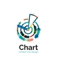 Thin line chart logo design Graph icon modern vector image