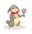 cute rabbit with a bouquet of flowers vector image