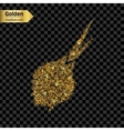 Gold glitter icon of onion isolated on vector image