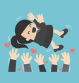 cartoon character colleagues toss up successful vector image