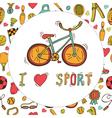 I love sport Bicycle emblem Hand drawn doodle vector image