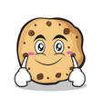 smile face sweet cookies character cartoon vector image