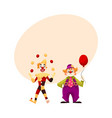 two cheerful clown on a holiday vector image