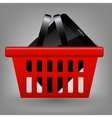 Red shopping basket with tablet vector image vector image