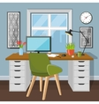 Workplace in room with window vector image