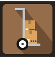 Truck with boxes icon flat style vector image