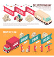 Isometric delivery moving banner set vector image