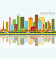 houston skyline with color buildings blue sky and vector image