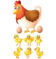 hen and six chicks vector image vector image