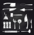 cutlery on chalkboard background vector image