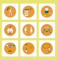 collection of back to school items in flat style vector image