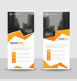 orange polygon business roll up banner flat design vector image