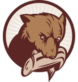 Brown bear catching a trout fish vector image