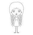 silhouette caricature skinny woman in dress with vector image