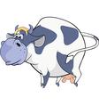 Happy blue cow vector image vector image
